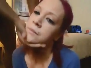 This red haired white chick is enjoying her hunger for my stuck on cock