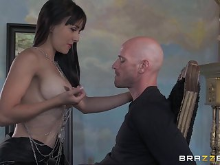 Small tits Cytherea drops on the brush knees to be covered with cum