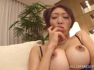 Naughty Japanese girl Reiko Kobayakawa masturbates while giving head