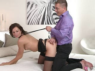 Dude with a large dick fucks his provocative steady old-fashioned Lara