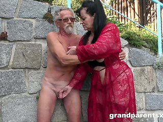 Young girl joins a much-older daring lady for a public fourway light of one's life