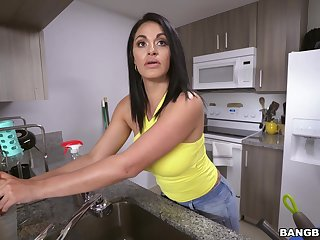 POV oral in dramatize expunge kitchen with busy babe Cristal Caraballo