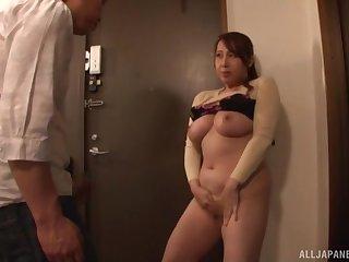 Chubby Japanese mature Kazama Yumi drops on her knees on touching blow