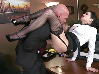 Muscular boss passes time at the end of one's tether fucking his curvy secretary