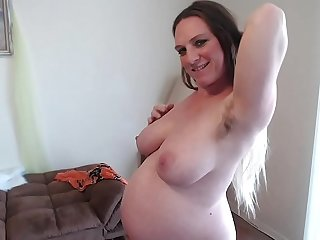 Hairy Ginger Pussy Squats Squirts Sucks Pussy Juices 36 Weeks Pregnant Different Angles of Heavy Belly - BunnieAndTheDude