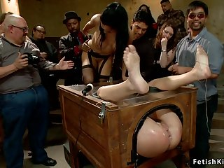 Hottie bitch group fucking tormented in elevate d vomit