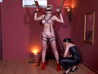 Kinky mistress in all directions corset Patricia MedicalySado punishes tied up busty hooker