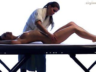 Lesbian masseuse enjoys heated beautiful young body of 18 yo mint Vika
