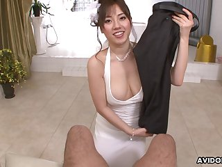 Buxom Japanese angel has skill giving head and she is very good roughly her hands